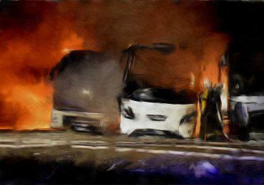 Pożar autobusów