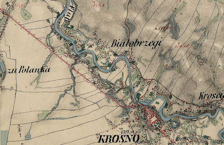 Krosno-Bialobrzegi-mapa-XIX-wiek